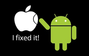 logo, humor, black background, Android operating system, Apple Inc.
