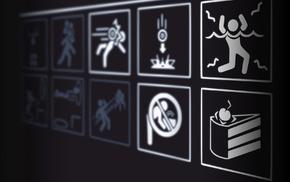 video games, warning signs, Portal 2, signs, Portal