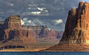 sky, canyon, rocks, nature, river