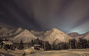 лучи, ночь, Природа, небо, горы, зима