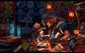 magic, Anthros, fantasy art, witch, wizard, books