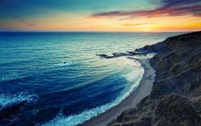 скала, море, природа, закат