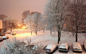 snow, winter, street, light