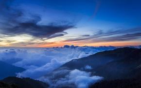 небо, облака, горы