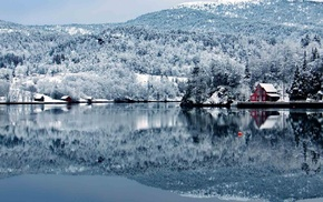 trees, water, lodge, forest, winter