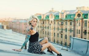 tattoo, nose rings, blonde, model, Bantik Boy, legs