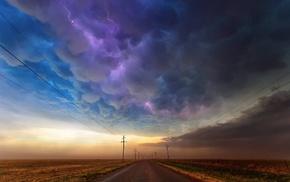 дорога, облака, молния
