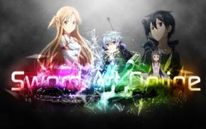rainbows, Asada Shino, Kirigaya Kazuto, Yuuki Asuna, Sword Art Online