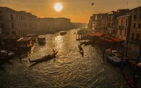 Venice, cityscape, building, boat, river, sunset
