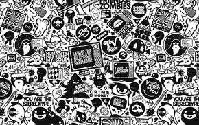 typography, Jared Nickerson, eyes, television sets, artwork