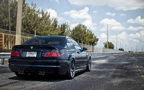 rear view, cars, road, tuning, BMW