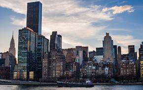 New York City, ship, skyscraper, cities, river