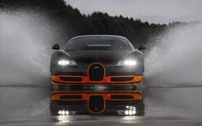 автомобили, Bugatti, вода, брызги