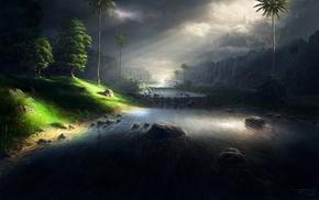 mountain, landscape, trees, river, sky