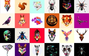 Facets, low poly, animals, Justin Maller