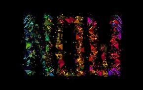 typography, black background, Facets, Justin Maller