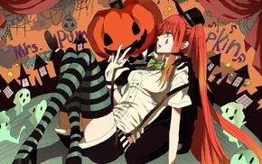 twintails, Halloween, Vocaloid, green eyes, redhead, pumpkin