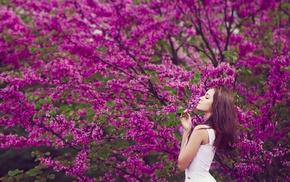 girl, flowers, trees, brunette, nature, white dress