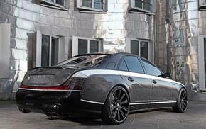 cars, tuning, black, rear view