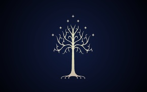 Gondor, sigils, symbols, blue background, The Lord of the Rings, trees