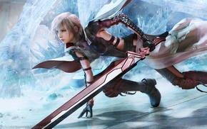 Claire Farron, Final Fantasy XIII, video games, ice, sword, Final Fantasy
