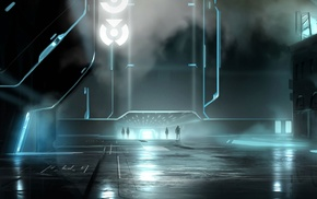 city, futuristic, fantasy art, Tron, artwork