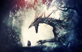 рыцари, лес, дракон, произведение искусства, воин