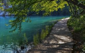landscape, trees, lake, water, nature, walkway