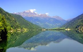 lake, nature, reflection, mountain