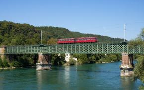 forest, bridge, train, mountain, river