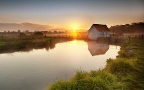 sunset, sky, evening, Sun, England