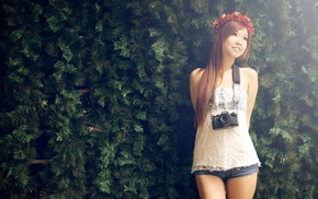 hedges, girl, Asian, long hair, camera, wreaths
