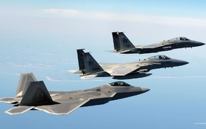 military aircraft, F22, Raptor, F, 15 Eagle, airplane