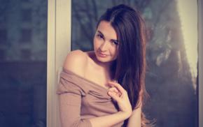 bare shoulders, brunette, model