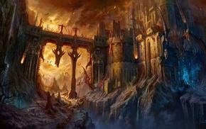 castle, dragon, fantasy art
