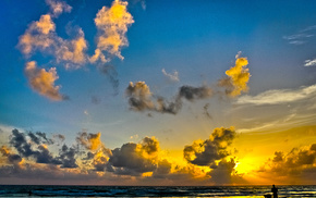 облака, природа, море