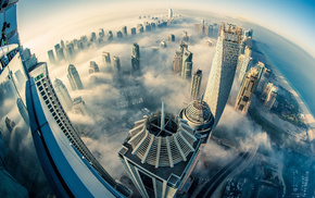 cities, mist, height, Dubai, city