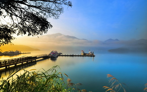 ships, landscape, sky, lake, nature