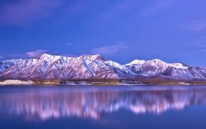 nature, sky, mountain, lake, reflection