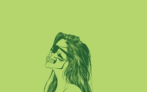 skull, long hair