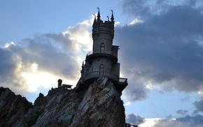 море, облака, осень, Крым, дворец Ласточкино гнездо, природа