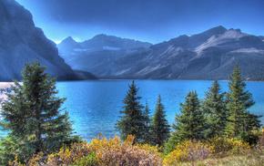 горы, озеро, лес, природа