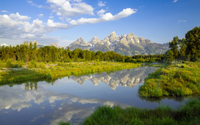 отражение ., Горы, природа, река, деревья, вода