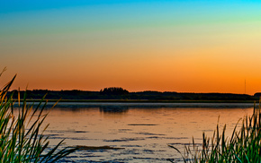 lake, sunset, nature, trees, grass