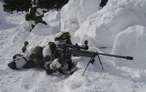 weapon, gun, snow, sniper rifle, soldier, SV