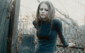 Avril Lavigne, singer, girl, black clothing, blonde, looking down