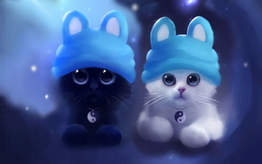 fantasy, black and white, cat