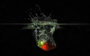 макро, клубничка, вода, Обои макро, брызги.