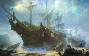 mountain, ships, sea, painting, jungle