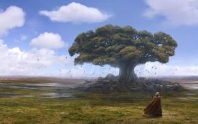men, birds, tree, fantasy
